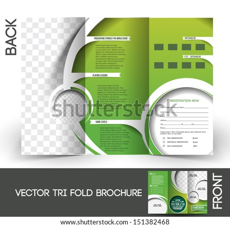 Trifold Golf Tournament Mock Brochure Design Stock Vector