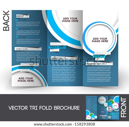 Tri-Fold Travel Mock up & Brochure Design  - stock vector