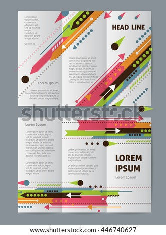 Tri fold vector brochure cover template design with white arrows