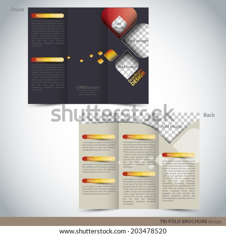 Tri Folder Brochure - Leaflet mock up - stock vector