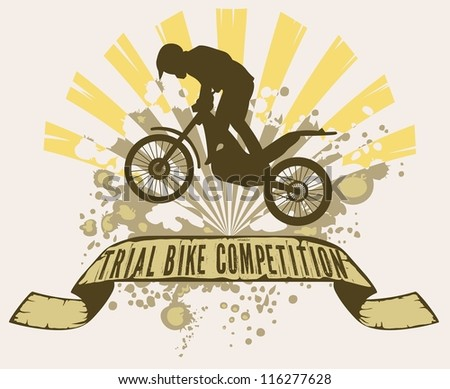 trial bike jumping over grunge text, with ray and mud splash - stock vector