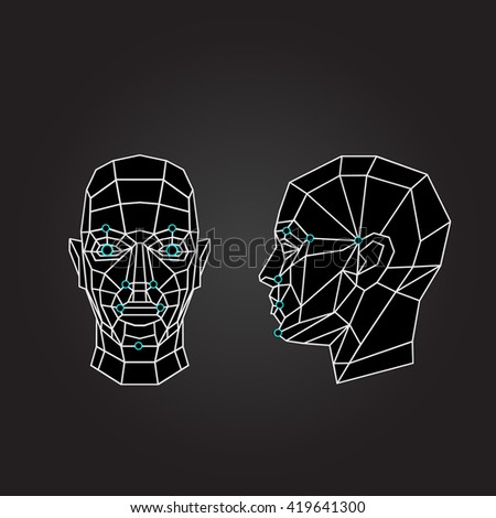 Triangle abstract human face, front view. Biometric verification. Concept of 3d Face recognition. Vector illustration - stock vector