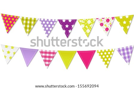 Triangle Bunting Flags, Vector Illustration - stock vector