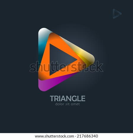 Triangle business sign abstract vector design template. Looped icon. Visualization of business corporate identity. Vector graphics representing creativeness, infinity of progress. Typography proposal  - stock vector