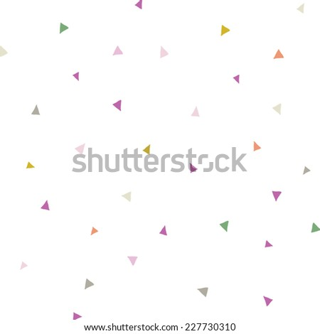 Triangle Confetti Background Pattern. Repeating Triangle Vector Pattern. Cute Triangle Confetti Background Vector  - stock vector