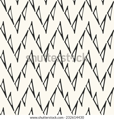 Triangle contour zigzag background in black and white. Seamless pattern. Vector. - stock vector