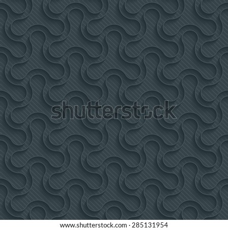 Triangle dark perforated paper with outline extrude effect. 3d seamless background. See others in My Perforated Paper Sets. - stock vector