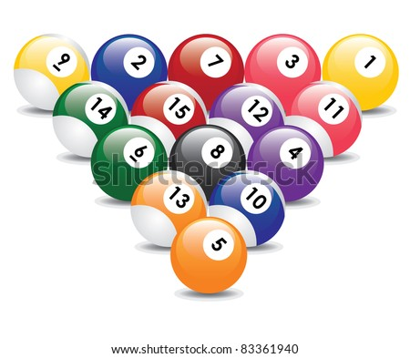 Triangle from fifteen billiard balls. - stock vector