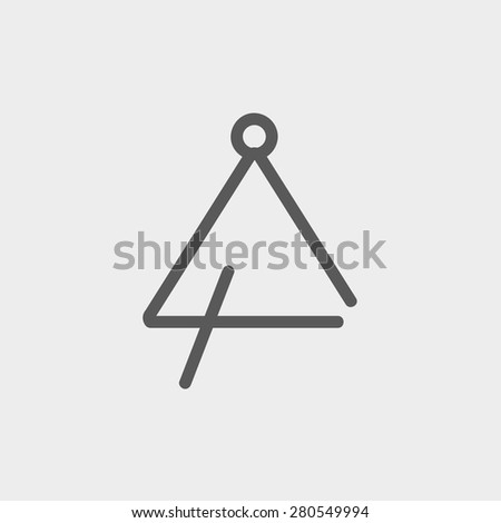 Triangle icon thin line for web and mobile, modern minimalistic flat design. Vector dark grey icon on light grey background. - stock vector