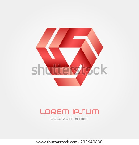 Triangle Logo business abstract vector design template, Hi tech looped infinity logotype, Vector illustration Eps 10 - stock vector