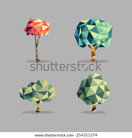 Triangle origami tree icons illustration set. Seasons concept ideal for web icon, ecology brochure and botany book cover. EPS10 vector file. - stock vector