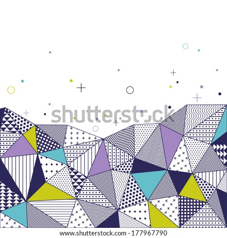 Triangle pattern background. Vector illustration with space for text. Contrasting fashionable polygonal backdrop with blue and green panes. Beautiful geometric design for business presentations. - stock vector