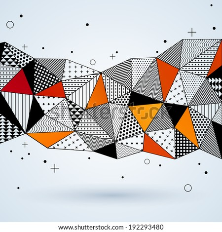 Triangle pattern background. Vector illustration with space for text. Contrasting fashionable polygonal backdrop with black and orange panes. Beautiful geometric design for business presentations - stock vector