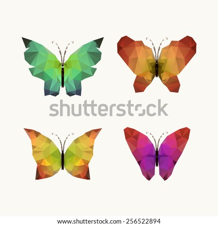 Triangle polygonal silhouettes of butterfly - stock vector