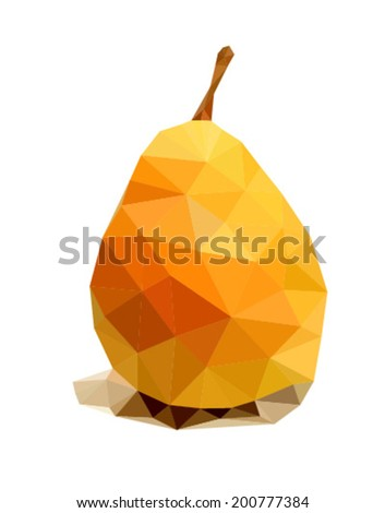 Triangle polygonal yellow pear. Vector illustration.