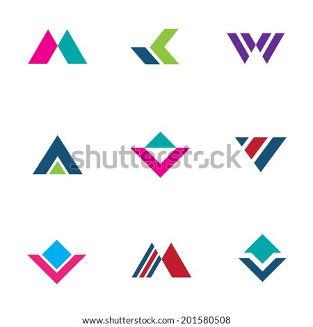 Triangle pyramid foundation company simple powerful logo brand creation icon set - stock vector