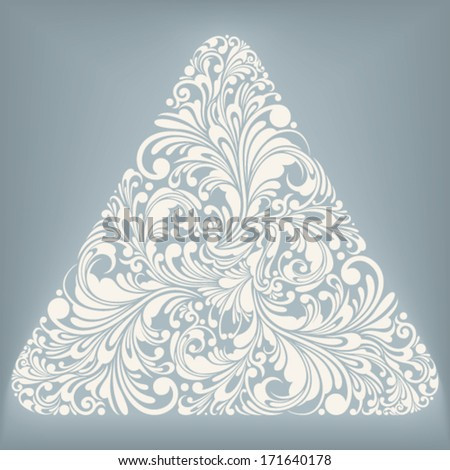 triangle shape with floral ornament, vector illustration - stock vector