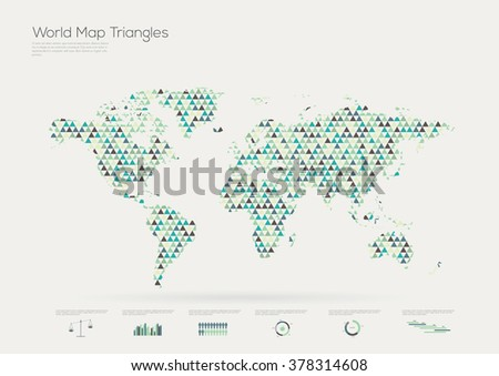 Triangle shape world map, infographic, vector illustration  - stock vector