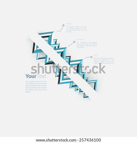 Triangle Shapes Ordered on a Corporate Style Blue Name Card or Presentation Chart Vector Concept Infographic Page Layout Graphics Elements. Scalable EPS10 Illustration - stock vector