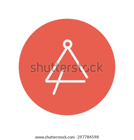 Triangle thin line icon for web and mobile minimalistic flat design. Vector white icon inside the red circle - stock vector