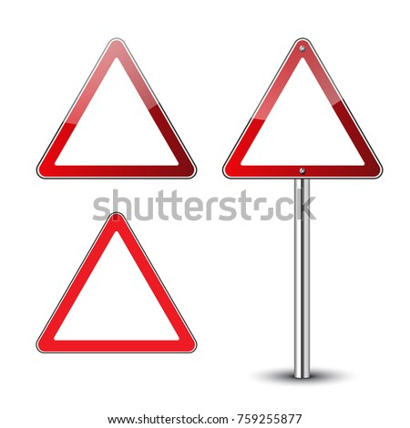 Triangle warning signs blank. Danger red triangular road signs isolated on white background. Guidepost metal pole. Roadsigns blank. Glossy icons. Street triangle signs. Vector illustration
