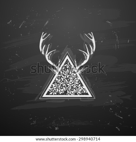 Triangle with flowers with horns in the style of tattoos - stock vector