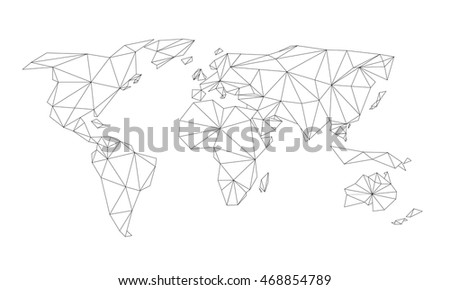 Triangle world map vector net black stock vector royalty free triangle world map vector net of black line triangles on white background gumiabroncs Image collections