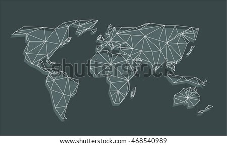 Triangle world map vector net triangles stock vector royalty free triangle world map vector net of triangles with shadow on black background gumiabroncs Image collections
