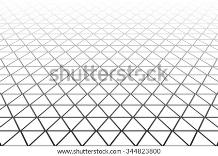 Triangles, diamonds and  hexagons geometric latticed texture. Perspective view. Vector art. - stock vector