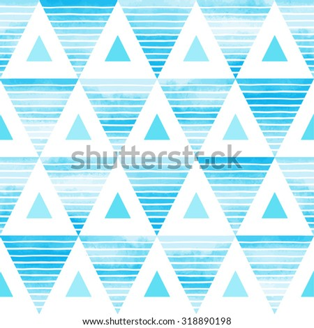 Triangles seamless vector pattern. Bright sky blue watercolor triangles with white hand drawn stripes on white backdrop. Abstract geometrical background.  - stock vector