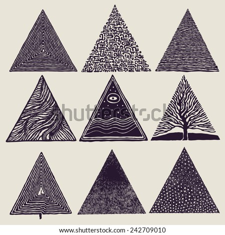Triangles set. vector illustration. - stock vector