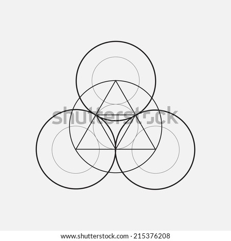 Triangles with circles, geometric element - stock vector