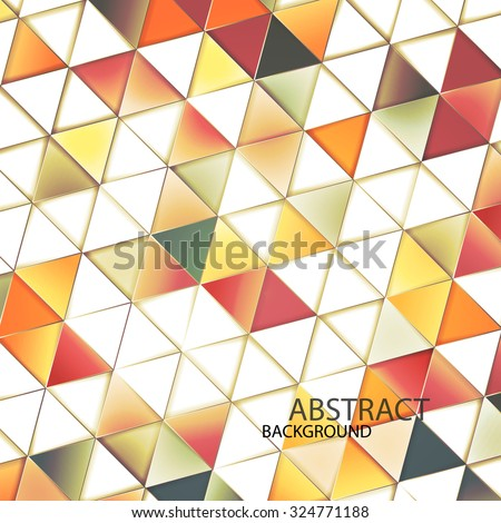 Triangles with shades and colors arranged in colorful pattern. Geometrical pattern with vintage colors. Abstract background with 3d design elements. - stock vector