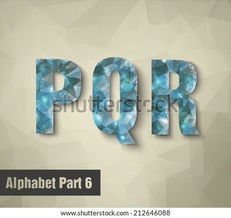 triangular blue alphabet PQR . vector - stock vector