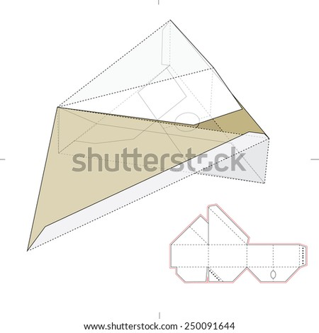 Triangular Box with Die Cut Template - stock vector