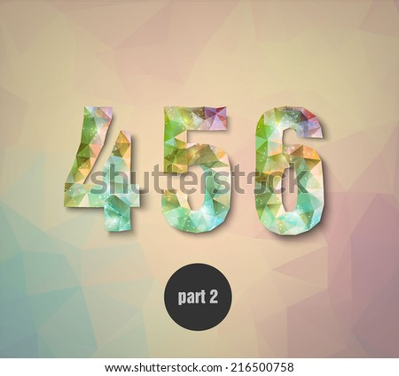 triangular crystal numbers abstract colored part 2 - stock vector