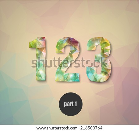 triangular crystal numbers abstract colored part one - stock vector
