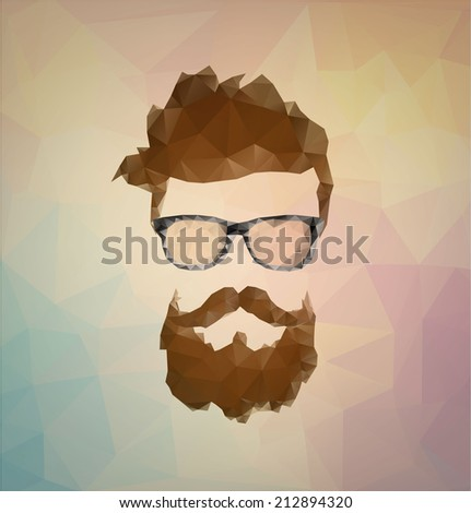 triangular icon hipster with a beard wearing glasses - stock vector