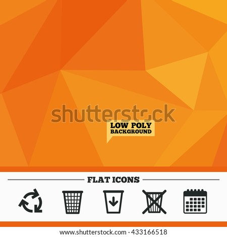 Triangular low poly orange background. Recycle bin icons. Reuse or reduce symbols. Trash can and recycling signs. Calendar flat icon. Vector - stock vector