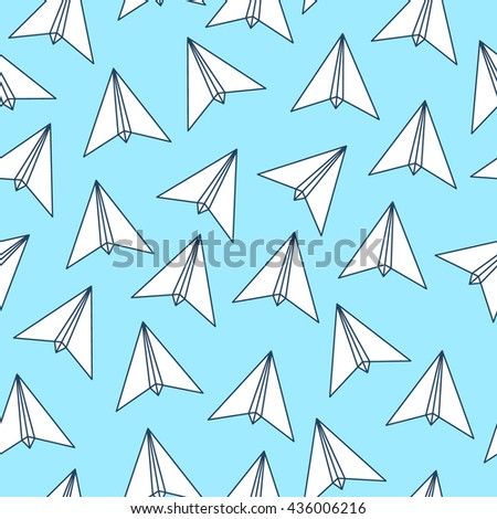 Triangular Paper Plane Origami Triangle Geometric Contour Line Polygon Style Travel Summer Seamless Endless