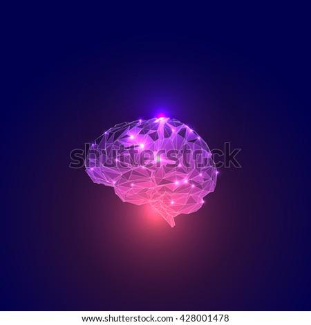 Triangular Polygons Human Brain. - stock vector