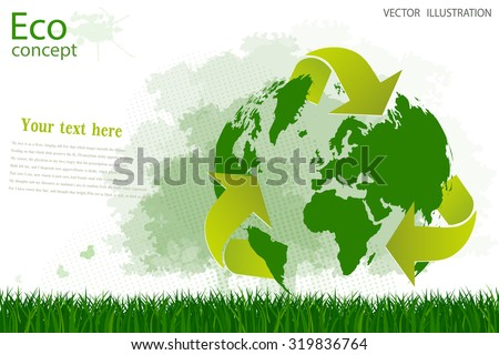 Triangular recycling symbol around the globe. Silhouette of a tree on the green grass. Environmentally friendly world. Vector illustration of ecology concept info graphic. Insert the text.