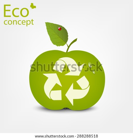 Triangular recycling symbol on a green Apple. Vector illustration on white background. - stock vector