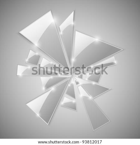 Triangular shards of the broken glass. Eps 10 - stock vector