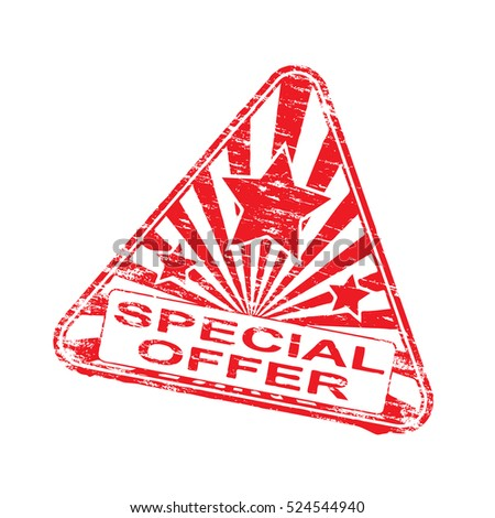 Triangular special offer grungy rubber stamp symbol vector illustration
