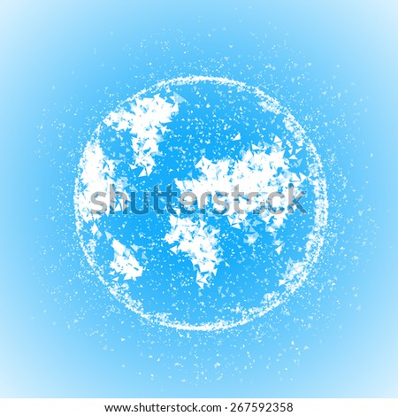 Triangular vector world globe illustration. Abstract earth, planet global, geometrical map - stock vector