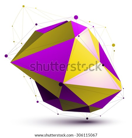 Triangular vivid abstract 3D illustration, colorful vector digital eps8 lattice object isolated on white background.