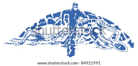 triathlon - stock vector