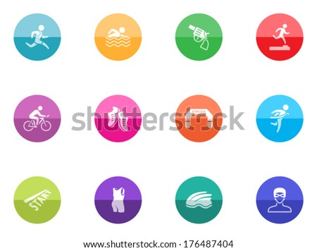 Triathlon icon series in color circles.  - stock vector