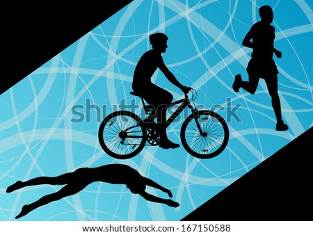 Triathlon marathon active young men swimming cycling and running sport silhouettes collection vector abstract background illustration - stock vector